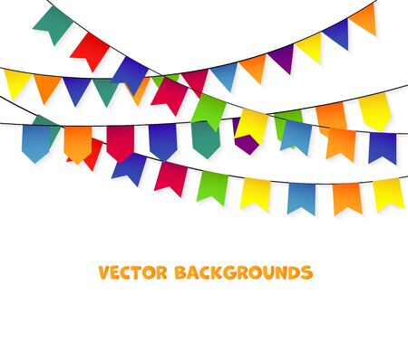 Party Background with bunting and garlands. Vector Illustration.
