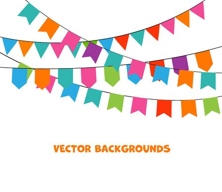 Party Background with bunting and garlands. Vector Illustration. Stock Vector - 131228668