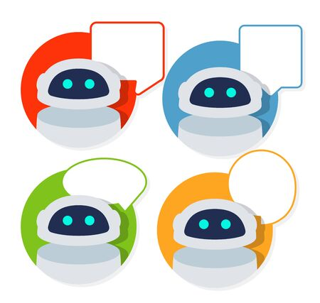 Chat robot and speak bubble.Vector flat cartoon icon illustration