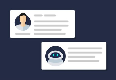 Chat bot chatting with man person flat icon. Vector illustration