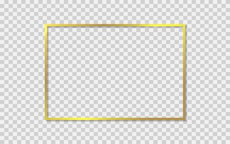 Gold shiny frame with shadows on background. Vector illustration