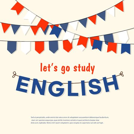 Let's go study or learn english, vector illustration Illusztráció