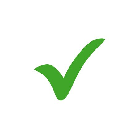Green check mark icon. vector illustration. Иллюстрация