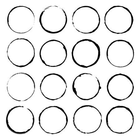 Vector set of grunge circle brush vector illustration Vector Illustratie