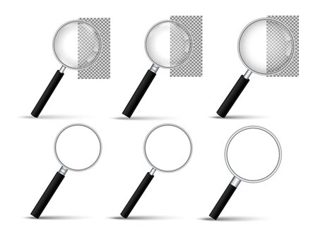 Realistic Magnifying glass vector icon