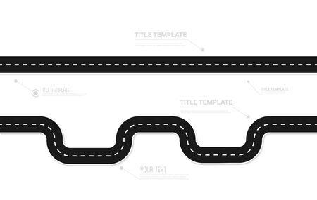 Road asphalt road isolated on white background. Vector illustration.