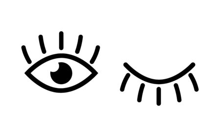 Eye designs on white background. Eyes and eyelashes icon . Vector illustration Иллюстрация