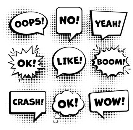 Retro comic speech bubbles set. Empty comic speech bubbles set 9 in 1. Vector icon Çizim
