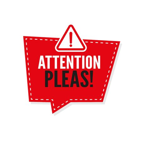 Attention pleas banner template. Vector background