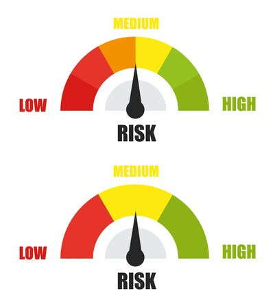 Risk concept on speedometer. Vector flat icon Ilustrace