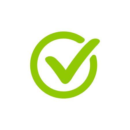 Green check mark design, icon vector Çizim
