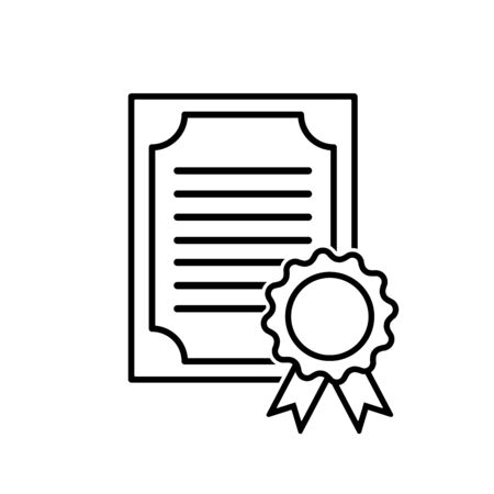 Certified vector icon on white background.
