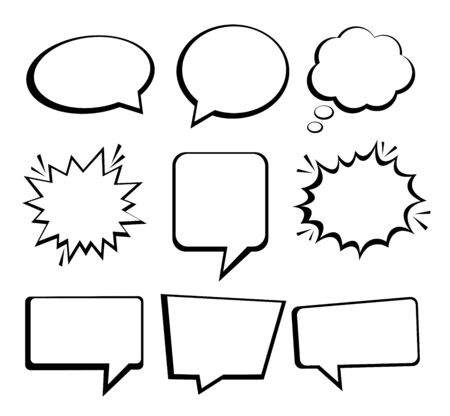 Speech or thought bubbles. Retro empty speech bubbles set 9 in 1. Vector icon