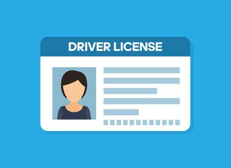 Car driver license woman flat icon