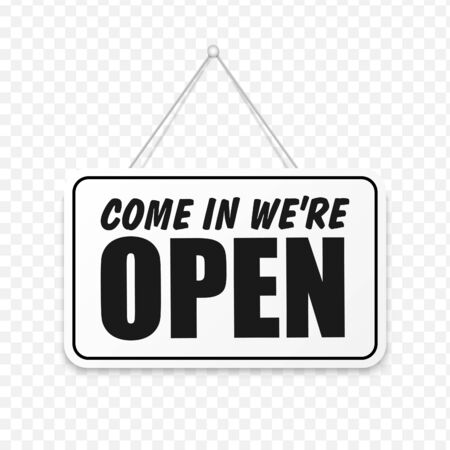 Come in We're Open in signboard with a rope on transparent background. Vector Иллюстрация