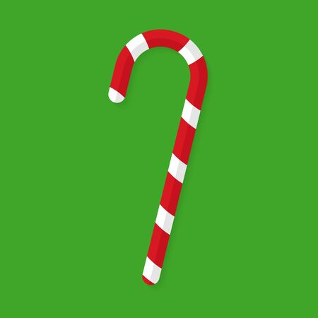Candy cane flat vector icon