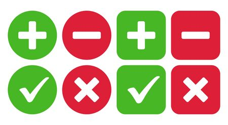 Checkmark icon and plus and minus icon. Vector illustration Stok Fotoğraf - 133771761