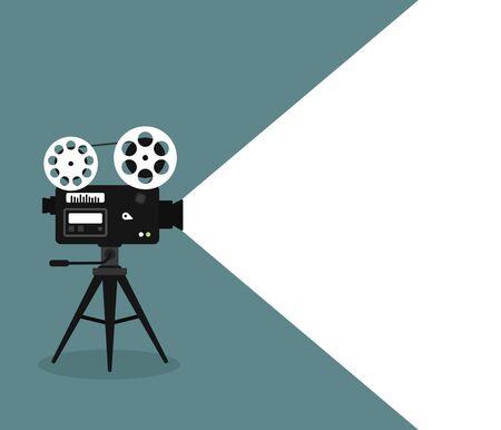 Movie time flat concept background. Cinema banner design Illustration