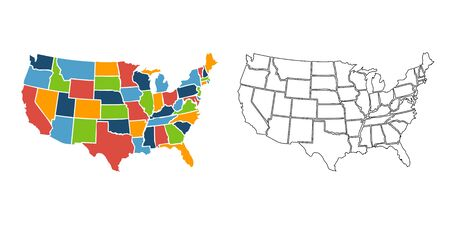 Colorful USA map with states. Vector illustration Stock Illustratie