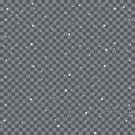 Chute de flocons de neige ou de flocons de neige sur fond transparent. Illustration vectorielle Vecteurs