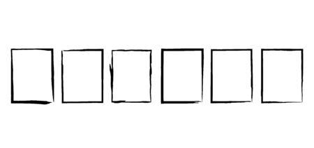 Grunge frame texture set. Vector illustration