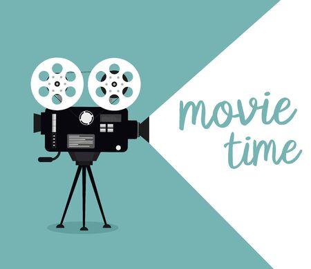 Movie time concept. Cinema banner design Illustration