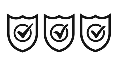 Shield with checkmark flat icon. 3 in 1