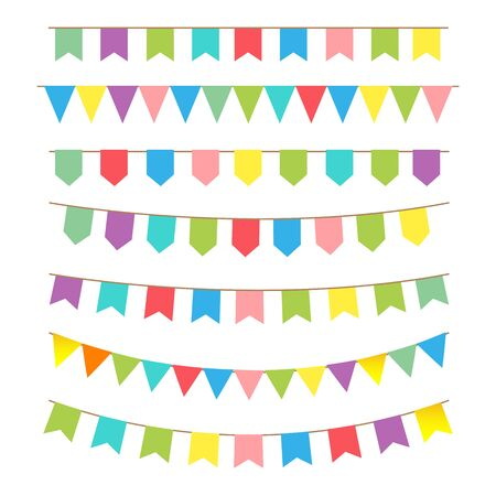Vector bunting and garland set icon