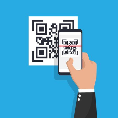 Scan QR code flat icon with phone. Barcode. Vector illustration.