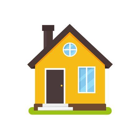 Cartoon house facade in flat style