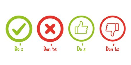Do and don't, positive and negative like Illustration