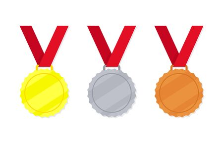 Medal - gold, silver and bronze vector icon