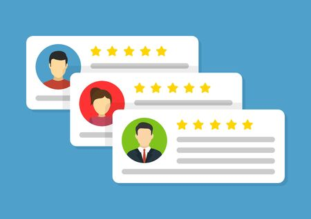 User reviews icon. flat style vector illustration
