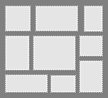 Blank set postage stamps collection. Vector illustration
