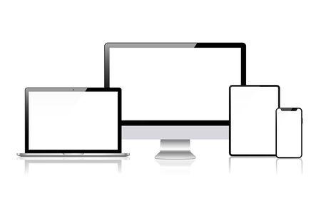 현실적인 벡터입니다. 장치 세트: 모니터 노트북, 태블릿 및 전화 템플릿