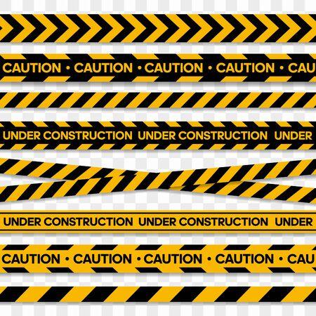 Nastri per zone di restrizione e pericolose. Illustrazione vettoriale Vettoriali