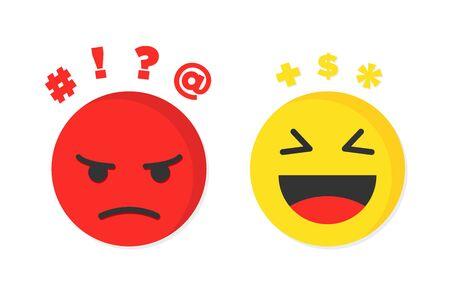 Pensamientos negativos y alegres u optimistas y pesimistas. Ilustración vectorial Ilustración de vector