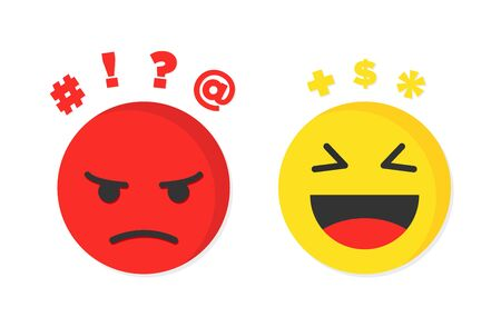 Pensieri negativi e gioiosi o ottimisti e pessimisti. Illustrazione vettoriale Vettoriali