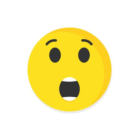 Emoticon surprise face vector icon