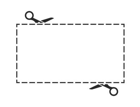 Icône noire de ciseaux avec jeu de lignes de coupe. Illustration vectorielle Vecteurs