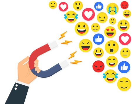 Social media concept. A magnet we want your feedback. Flat style vector illustration.