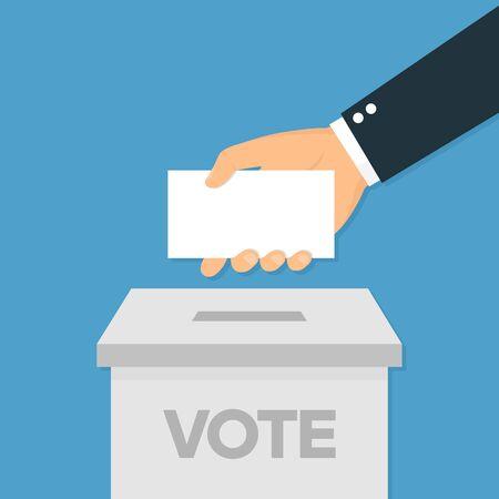 Icône de vote dans la main de style plat mettant le papier de vote dans la boîte