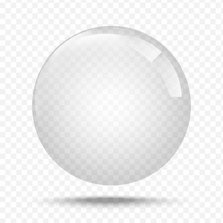 Transparentes Glas. Weiße Perle, Wasserseifenblase, glänzende, glänzende Kugel realistische Designelemente