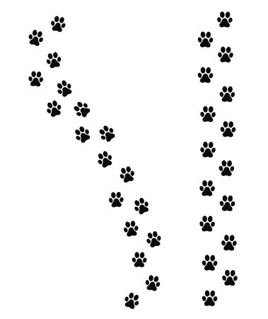 Paw print set icon vector illustration.
