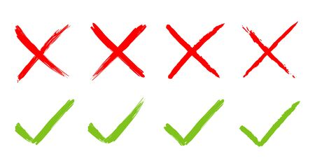 Check mark icon green and red. Yes or no. Vector illustration