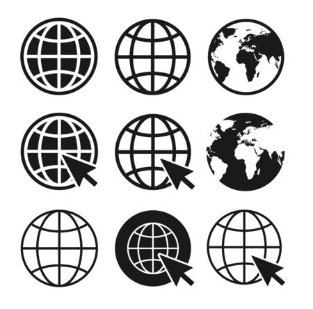 Web site icons set. Globe icon symbol set. Vector