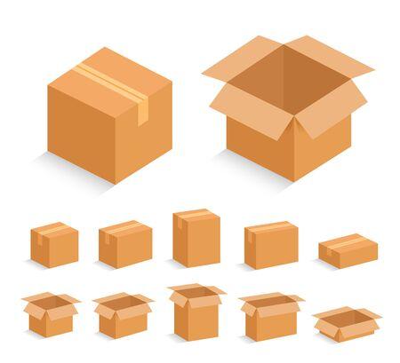 Boîte en carton ouverte et fermée. Illustration vectorielle.