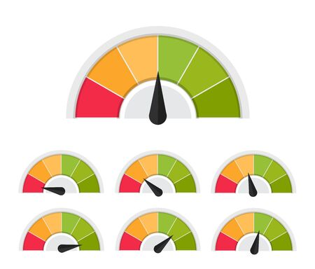 Customer meter. Different emotion customer service mangement. Vector flat illustration