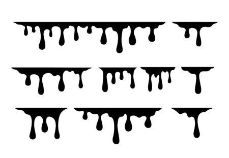 Set melting drops, milk, liquid caramel, honey and chocolate. Vector illustration Ilustração