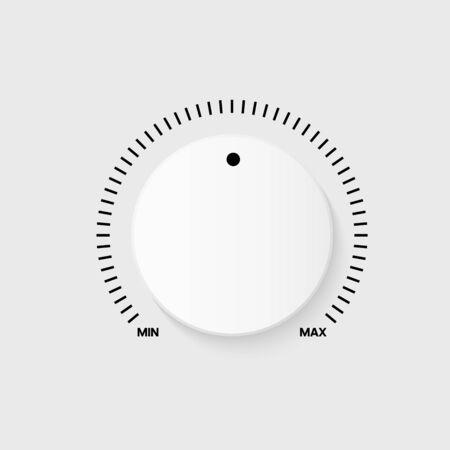 White technology button, music volume knob, range scale. Vector illustration